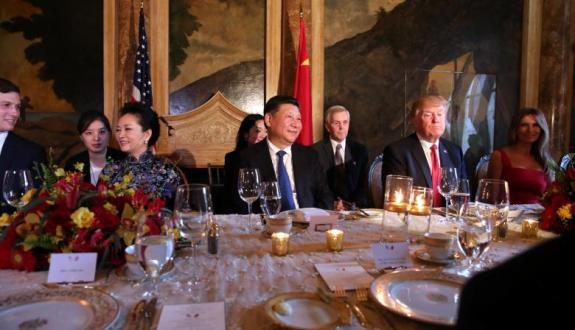 Chinese President Xi Jinping and U.S. President Donald Trump attend a dinner accompanied by first ladies in West Palm Beach