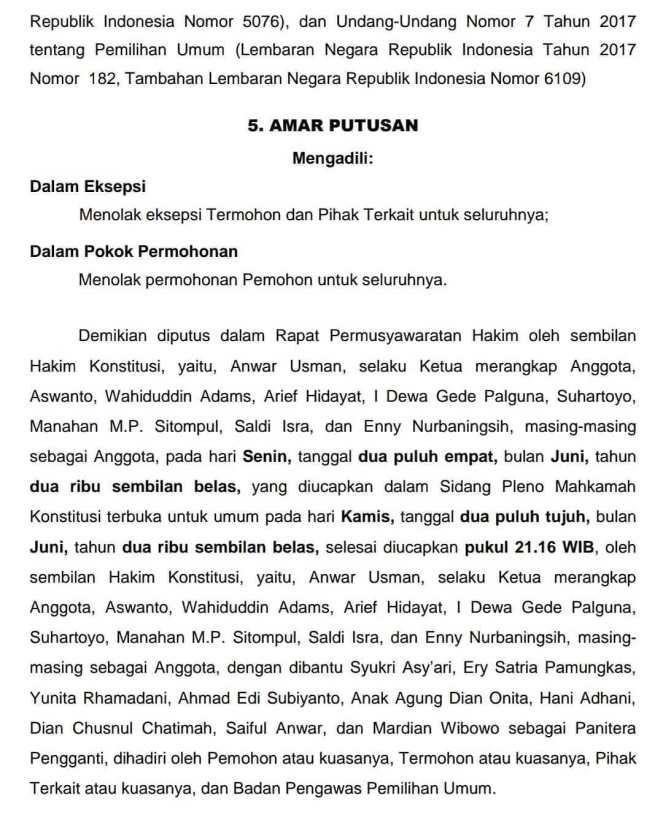 Hasil gambar untuk Amar Putusan mahkamah konstitusi republik indonesia Tentang Sengketa PHPU Presiden 2019