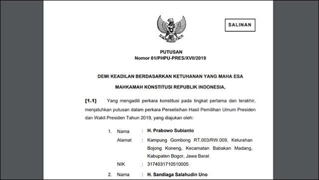 1.944 Halaman, Download Berkas Putusan MK Tolak Gugatan Prabowo di Sini